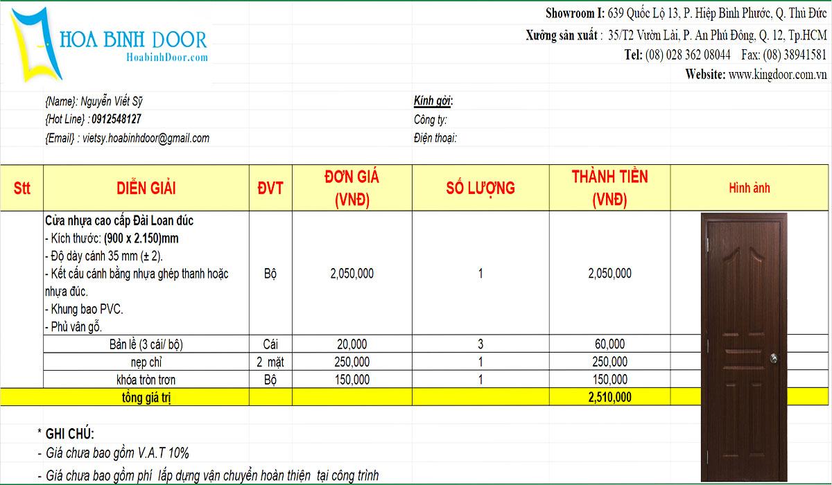 Giá cửa nhựa đài loan mới nhất